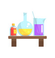 laboratory chemicals in glassware stand on wooden vector image