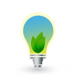 light bulb leafs and sky ecology vector image