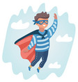little boy play superhero at sky on beach vector image vector image