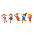 little kids are joyfully jumping playing and vector image vector image