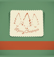merry christmas retro greeting card vector image