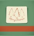 merry christmas retro greeting card vector image