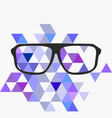 nerd glasses on grey background with triangle flat vector image vector image