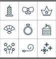 new icons set with candle bow pastry slice vector image