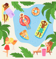 people in cartoon style on mattresses hot summer vector image