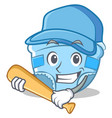playing baseball baby diaper character cartoon vector image
