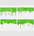 realistic dripping slime seamless green stain vector image vector image