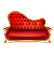realistic luxurious red leather sofa couch vector image