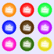 Rent icon sign A set of nine different colored vector image