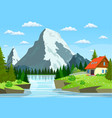 river flowing through the rocky hills vector image vector image