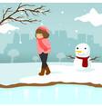 sad lonely girl winter season scene graphic design vector image