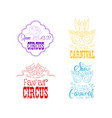 set hand drawn circus or carnival signs vector image vector image