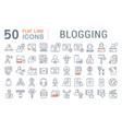 set line icons blogging vector image