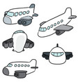 set of airplane vector image