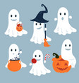 set of ghosts for halloween design vector image