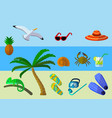 set of summer vacation accessories vector image vector image