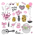 Set romantic Valentines Day doodles vector image