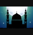 silhouette mosque at night time vector image vector image