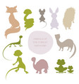 silhouettes animals forest and pond vector image