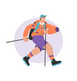 smiling man with sticks and backpack hiking vector image