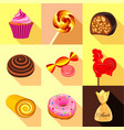 sweets and candy icons set flat style vector image vector image