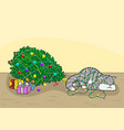 the cat knocked down the christmas tree vector image vector image