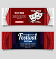 theatre festival paper cut banner templates vector image vector image