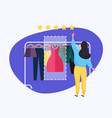 woman giving rating to dress hand choosing vector image