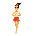 smiling young female person in shorts runs in vector image