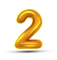 2 two number golden yellow metal letter vector image