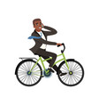 afro-american businessman riding bicycle