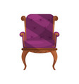 armchair with purple velvet trim classic wooden vector image vector image