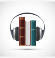 audiobooks concept headphones on a stack books vector image vector image
