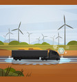 big semi truck trailer driving over field with vector image vector image