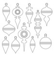 black outline christmas tree ornaments stamps vector image vector image
