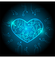 Blue circuit heart background vector image vector image