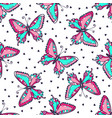 bright butterflies seamless pattern hand drawn vector image vector image