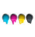 buckets with cyan magenta yellow black paint on a vector image