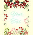 card with berries branches and flowers vector image vector image