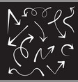 chalk arrows collection hand draw on black board vector image