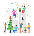 cheerful people celebrating a christmas vector image vector image