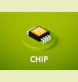 chip isometric icon isolated on color background vector image vector image