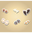 color icons with traces of animals and birds vector image