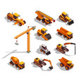 construction machinery isometric icons vector image