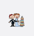 couple of newlyweds cutting wedding cake vector image vector image