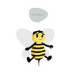 cute bee isolated on white background and speech vector image vector image