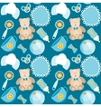 cute blue baby boy seamless pattern vector image