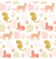 cute seamless pattern with leopards tropical vector image vector image