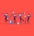 dancing janitors team vector image vector image