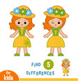 find differences girl in hat and summer dress vector image vector image